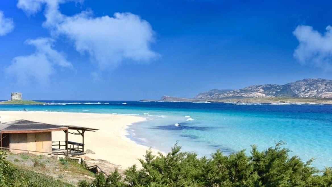 In the coastal town of Stintino, on the northwest tip of the island of Sardinia, you'll find La Pelosa beach