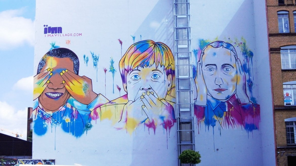 The politicians Obama, Merkel and Putin by Syrus