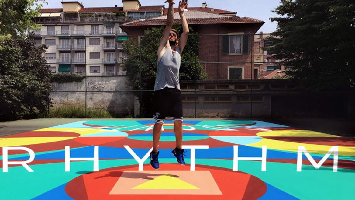 Italian basketball court transformed into a genuine optical illusion