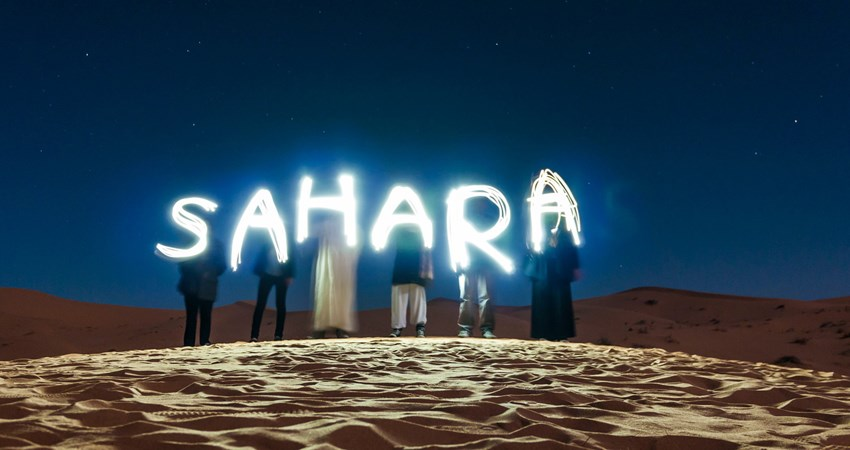 Sunrise in Sahara desert, a different plan to receive the year