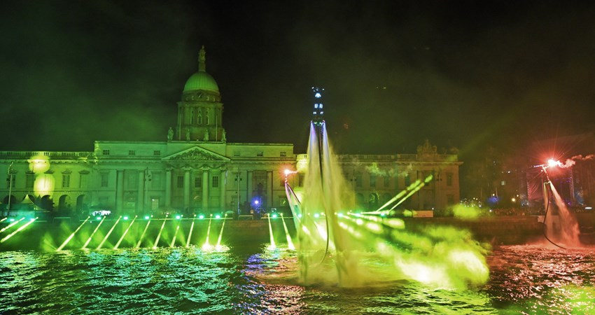 During the Dublin New Year's Eve Festival, the Liffey River becomes a light show