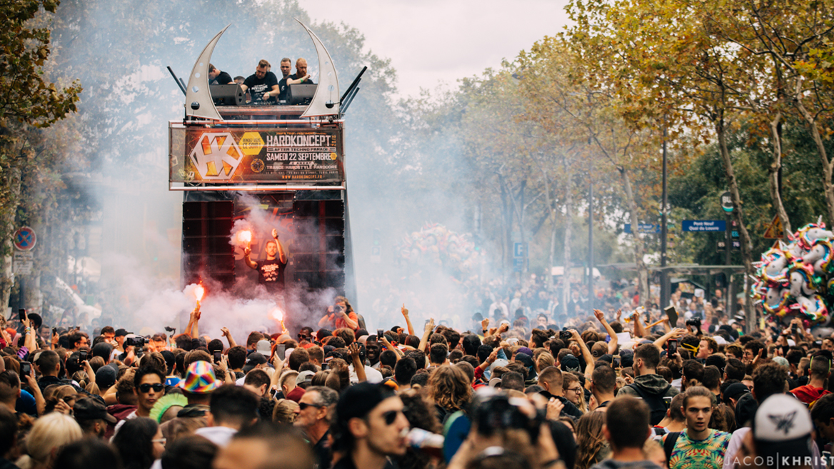 Twelve floats roam the streets of Paris to the rhythm of electronic music at the Techno Parade in Paris on September 28, 2019