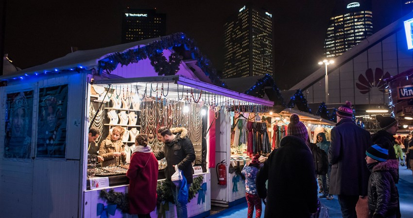 Artisanal Christmas stands in La Défense, the largest market in Paris at Christmas