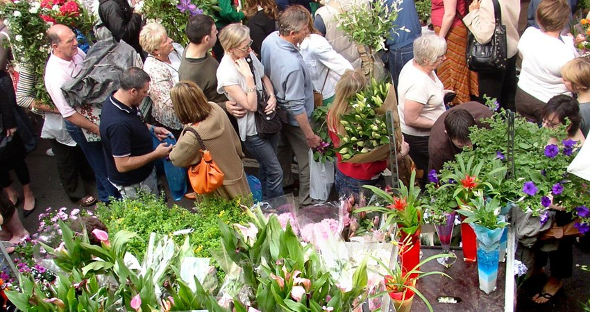 On Sundays in the spring, you can't miss the famous Columbia Road Flower Market in London.